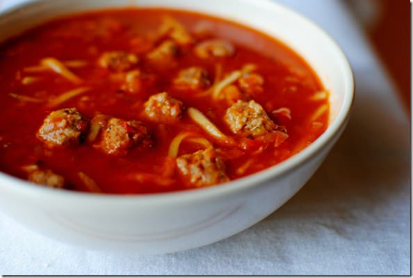 tomato turkey soup with ditalini and made spaghetti meatball soup