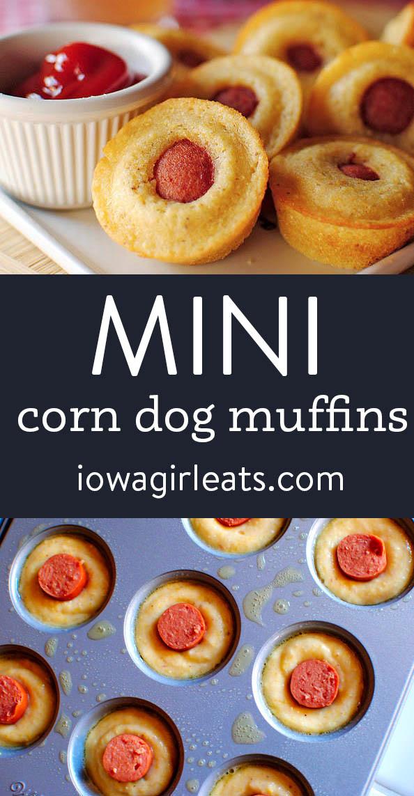 Photo collage of mini corn dog muffins