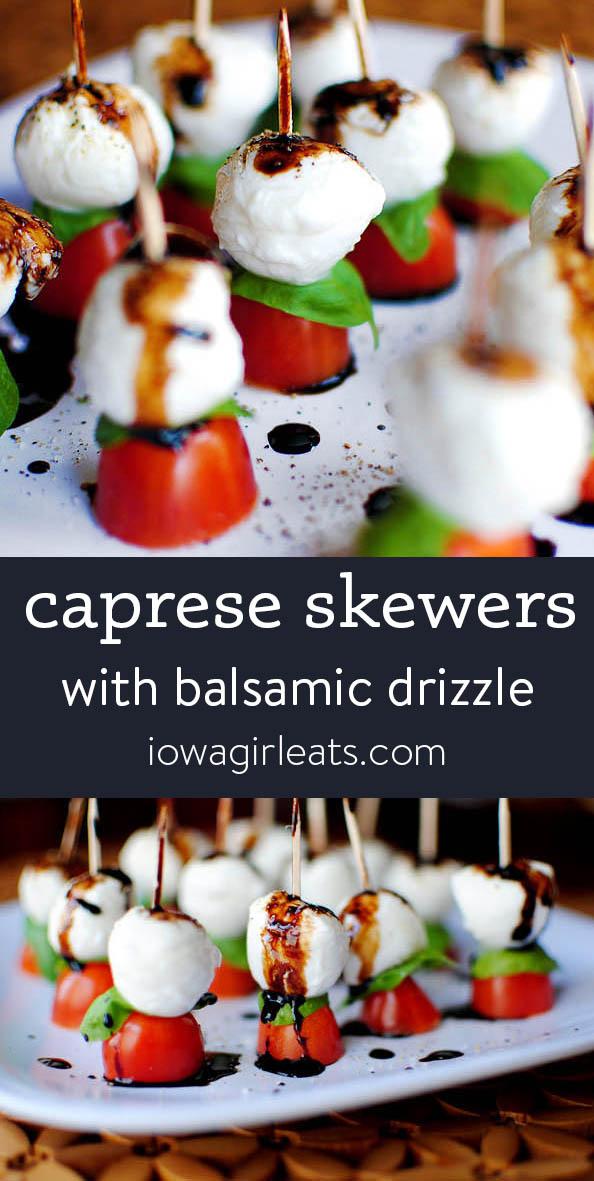Photo collage of caprese skewers