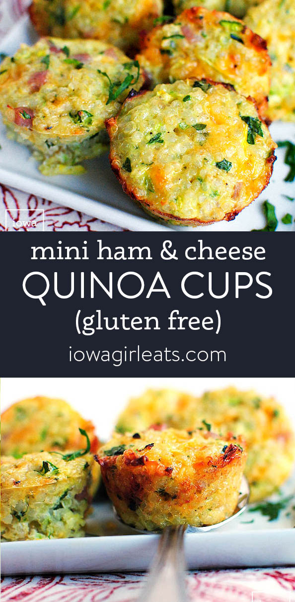 photo collage of mini ham and cheese quinoa cups