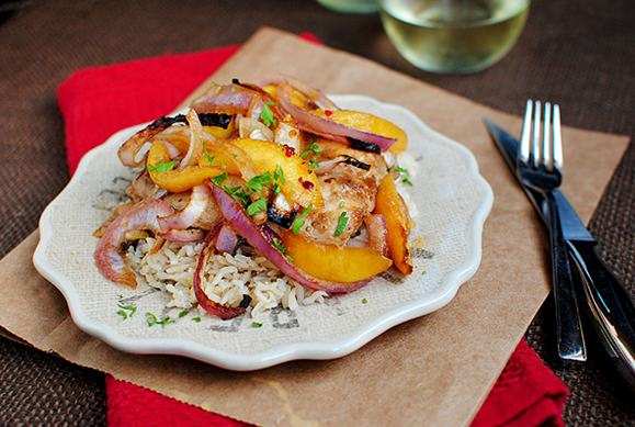 gingery chicken with peaches serves 4 description gingery chicken with