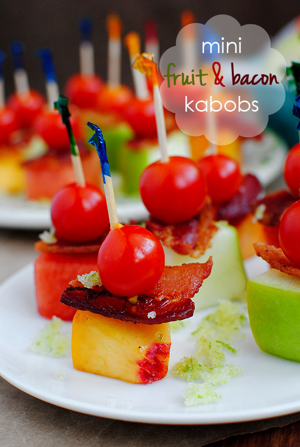 Honey, I shrunk the fruit kabobs! (And added bacon, too – muwahaha!)