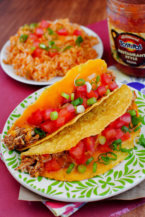 Photo of shredded chicken tacos on plate