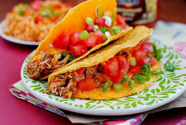 Closeup photo of two tacos on plate