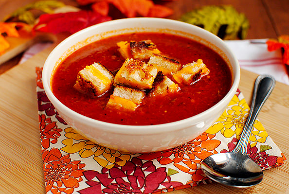 Roasted Tomato Soup with Grilled Cheese Croutons - Iowa Girl Eats