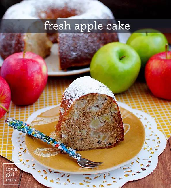 slice of fresh apple cake on a plate