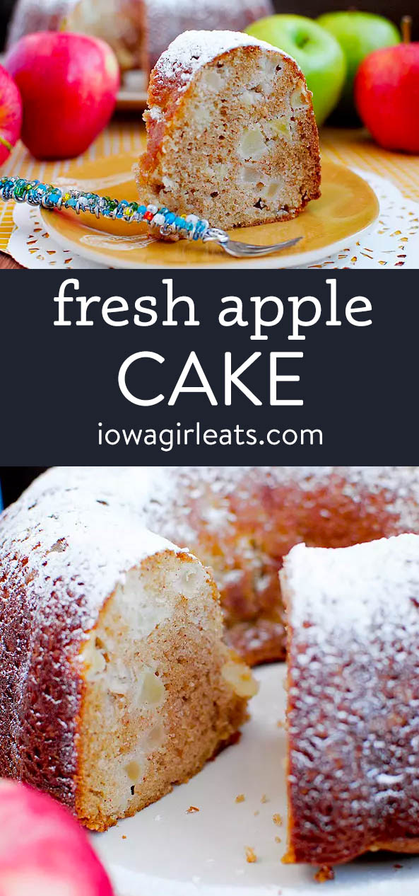 photo collage of fresh apple cake
