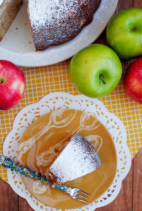 overhead photo of slice of apple cake