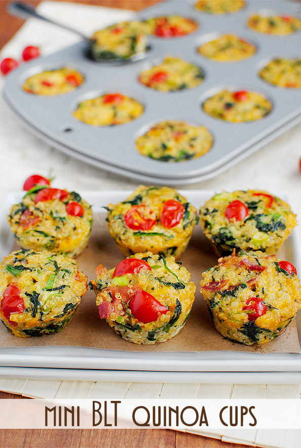 Mini BLT Quinoa Cups are the perfect bite-sized gluten-free snack, breakfast, lunch, or dinner recipe! Easy and healthy. | iowagirleats.com