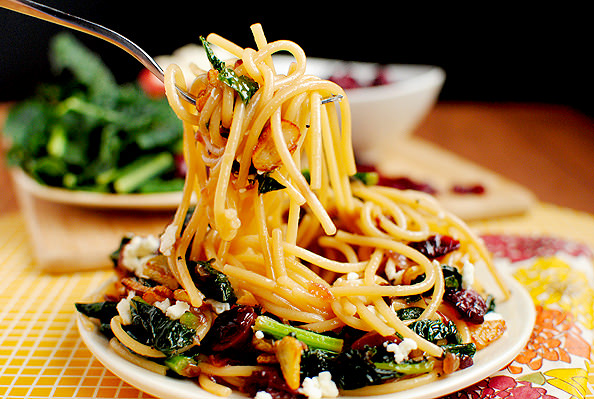 Pasta with Toasted Garlic, Dried Cranberries, Kale ...