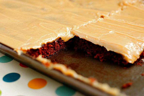 Chocolate Sheet Cake with Peanut Butter Icing - Iowa Girl Eats