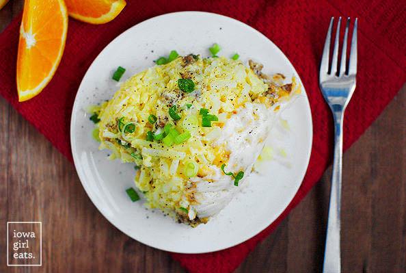 overhead photo of a scoop of crock pot breakfast casserole on a plate