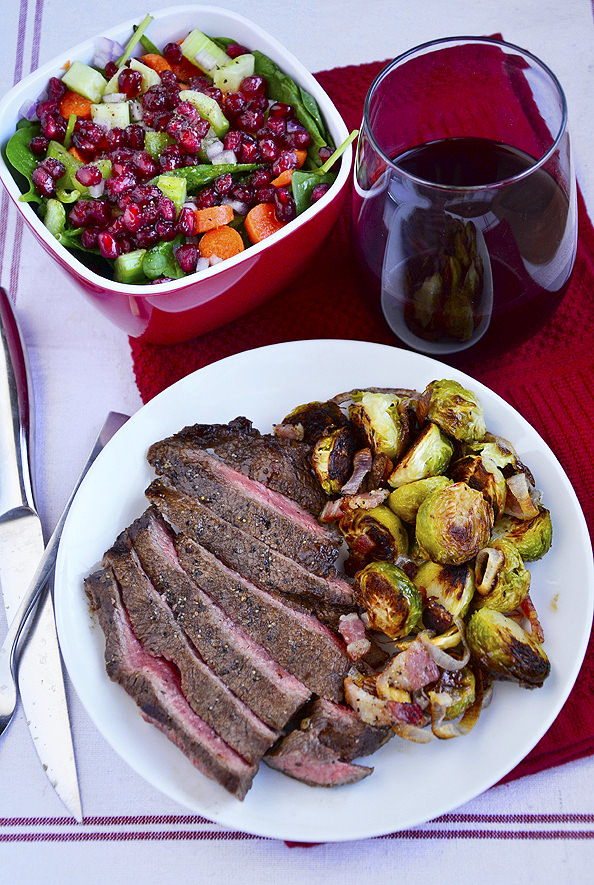 Grilled Balsamic Flank Steak and Roasted Brussels Sprouts with Bacon a
