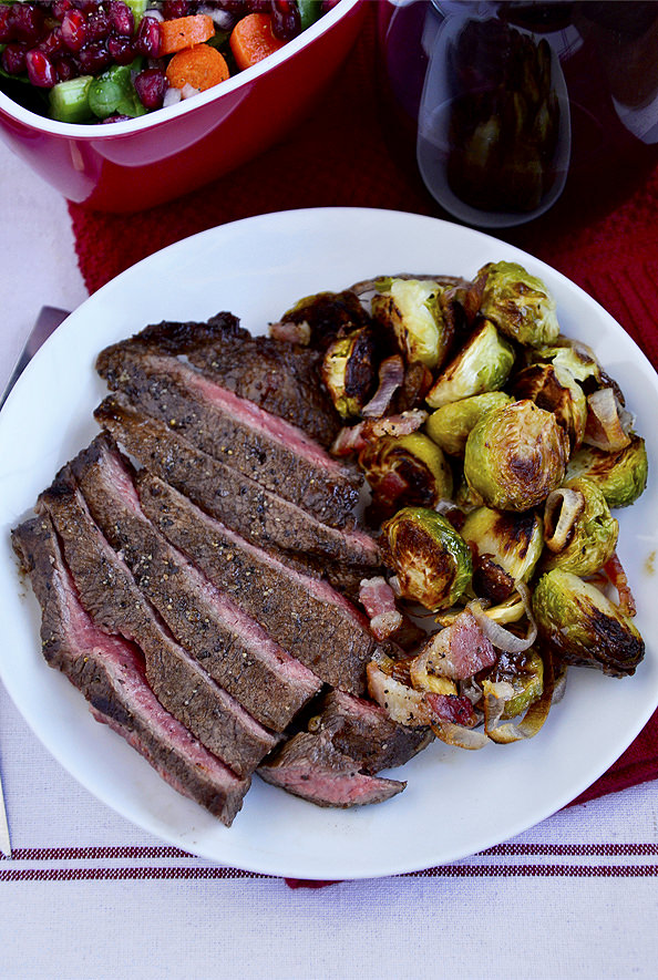 Grilled Balsamic Flank Steak with Roasted Brussels Sprouts with Bacon and Shallots - Iowa Girl Eats