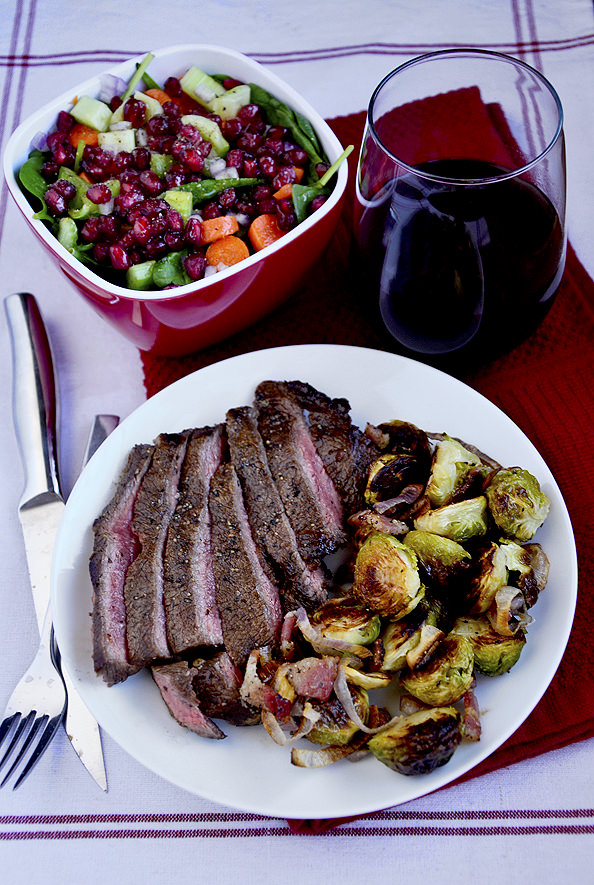 Grilled Balsamic Flank Steak with Roasted Brussels Sprouts with Bacon