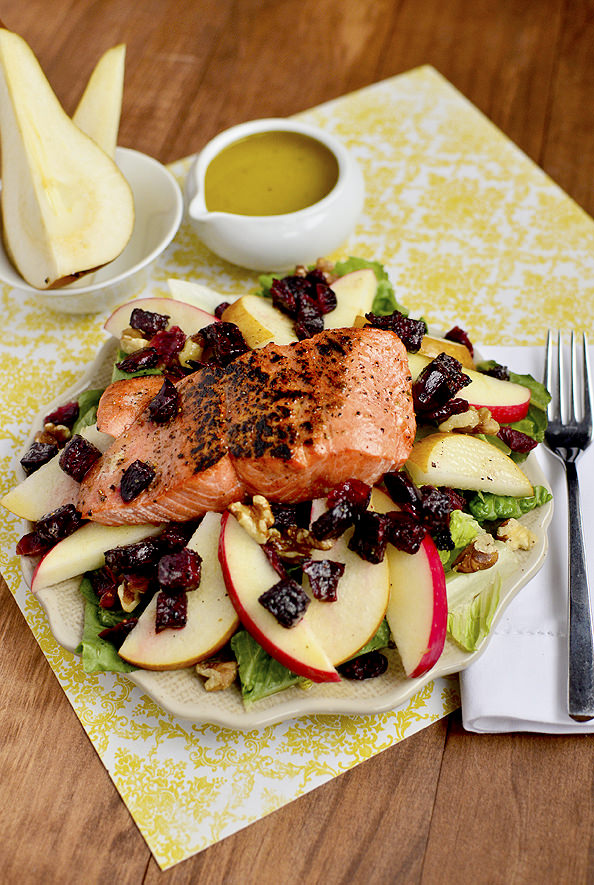 Autumn Salmon Salad via Iowa Girl Eats
