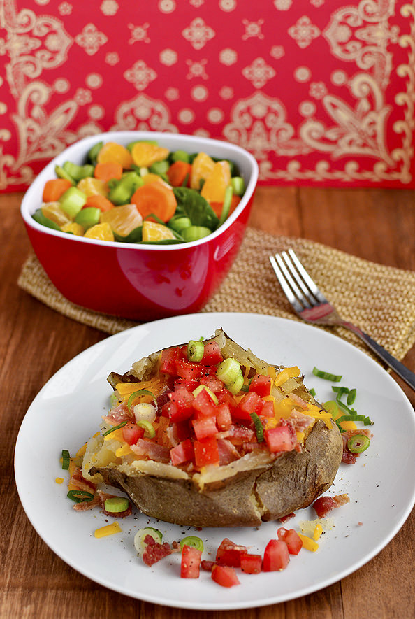 Loaded Crock Pot Baked Potato via Iowa Girl Eats