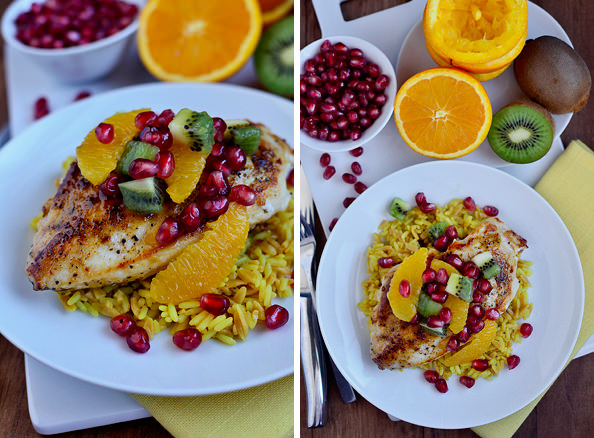 Orange Chicken Skillet with Winter Fruit Salsa via Iowa Girl Eats