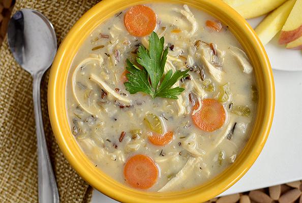 Chicken and Wild Rice Soup via @Iowa Girl Eats