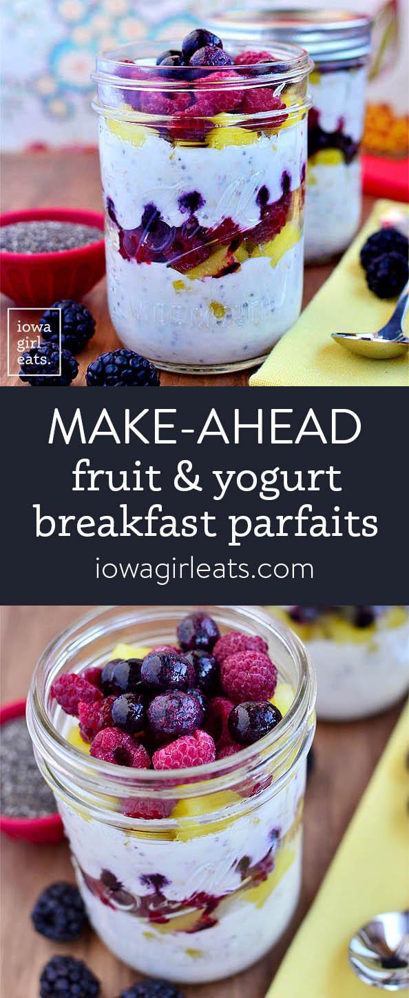 Photo collage of fruit and yogurt breakfast parfaits