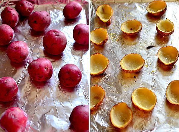 Roasted Jalapeno Popper Potato Skins via Iowa Girl Eats