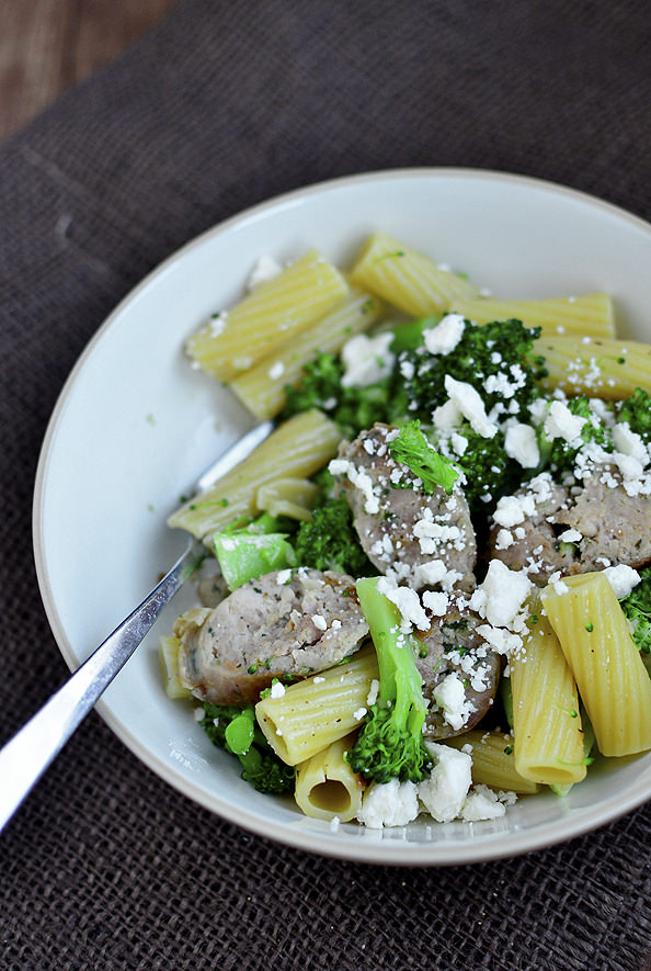 Chicken Sausage Pasta Toss with Broccoli and Feta - Iowa Girl Eats