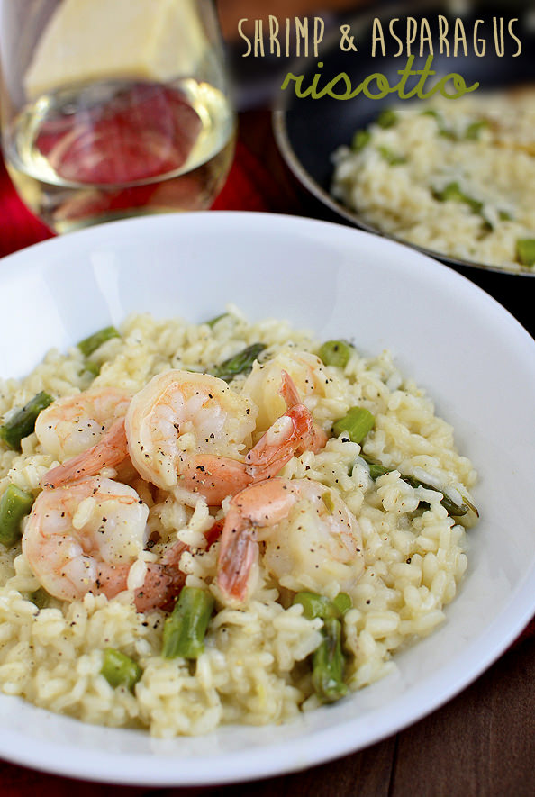 Simple Shrimp and Asparagus Risotto via Iowa Girl Eats