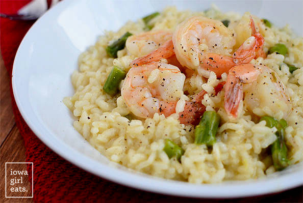 close up photo of shrimp and asparagus risotto in a bowl