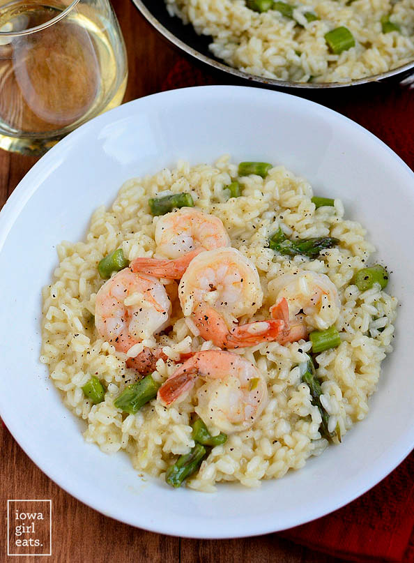 overhead photo of a bowl of simple shrimp and asparagus risotto