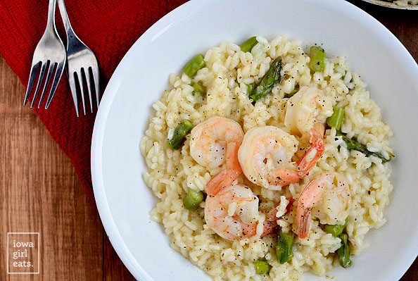 beautiful yet simple shrimp and asparagus risotto in a bowl