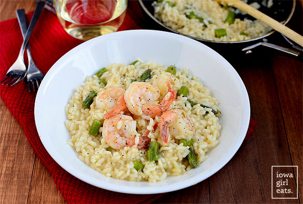 shrimp and asparagus risotto in a bowl
