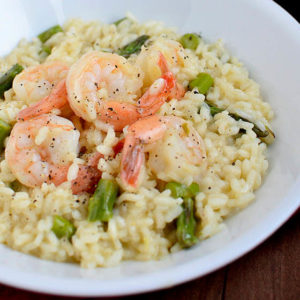 simple shrimp and asparagus risotto in a serving bowl