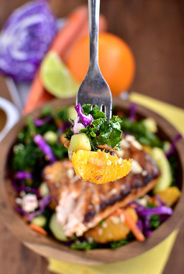 Asian Kale & Salmon Salad | iowagirleats.com