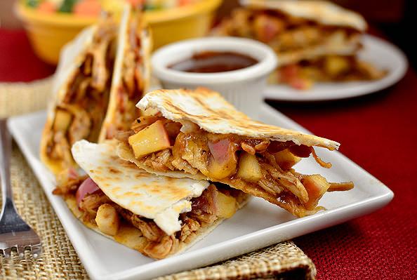 BBQ Chicken, Apple, Bacon, Cheddar Quesadillas   iowagirleats.com