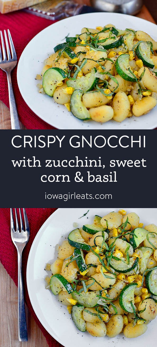 Photo collage of crispy gnocchi with summer vegetables