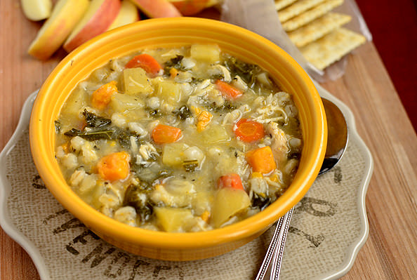 Crock Pot Chicken & Barley Vegetable Stew | iowagirleats.com