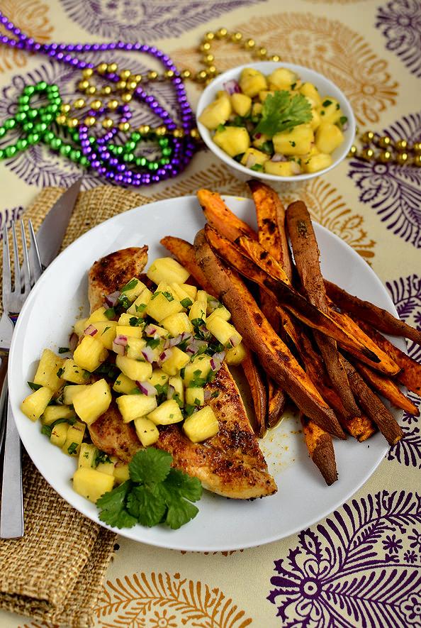 Cajun Chicken with Mardi Gras Salsa | iowagirleats.com