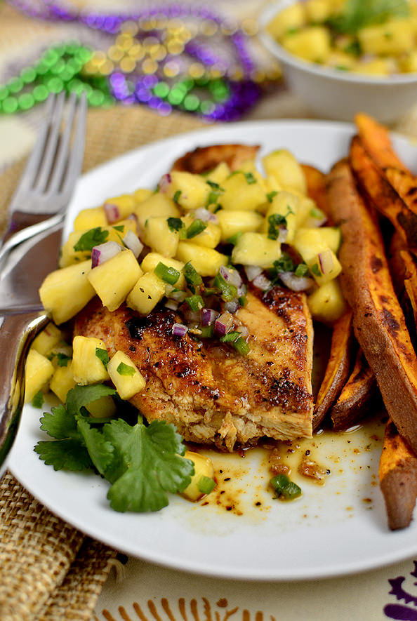 Cajun Chicken with Mardi Gras Salsa | iowagirleats.com