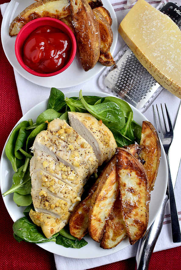 Parmesan Garlic Chicken with Roasted Potato Wedges | iowagirleats.com