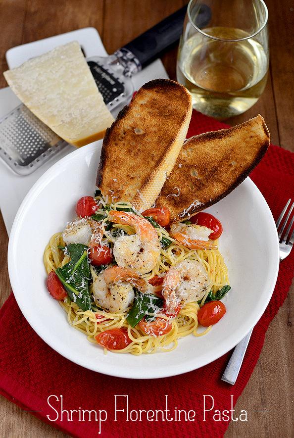 Shrimp Florentine Pasta via @Iowa Girl Eats