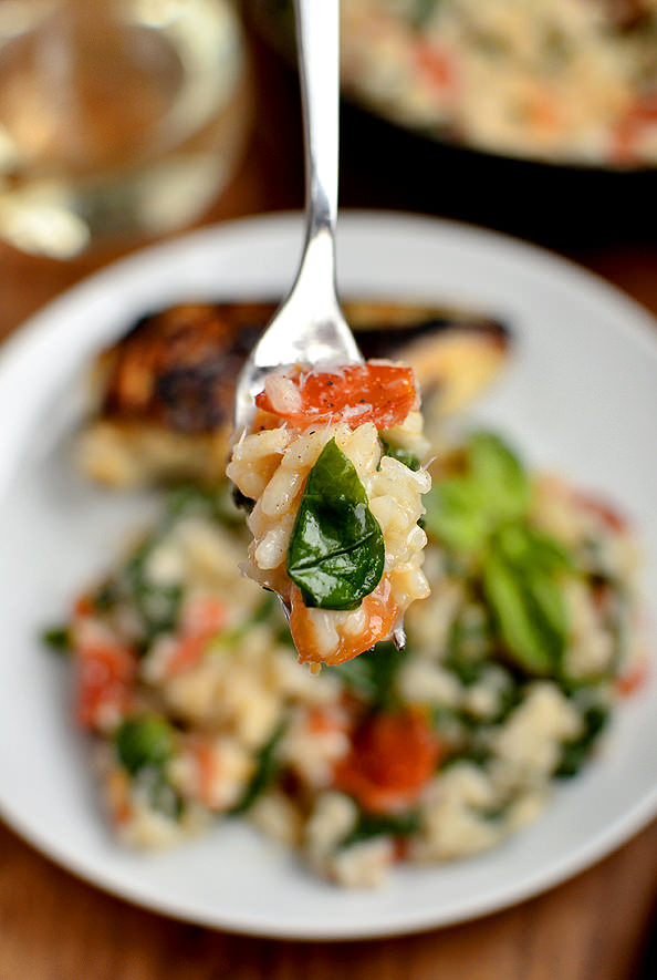 Tomato-Basil & Spinach Risotto | iowagirleats.com