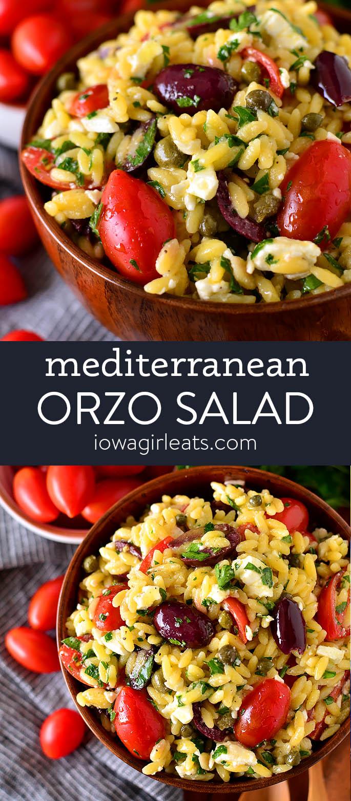 photo collage of mediterranean orzo salad