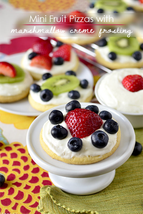 Mini Fruit Pizzas with Marshmallow Creme Frosting | iowagirleats.com