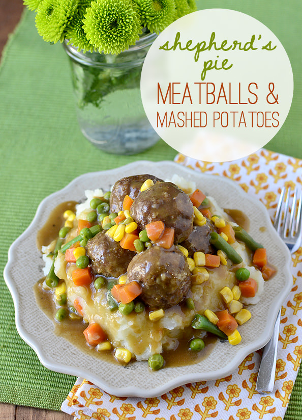 Shepherds Pie Meatballs and Mashed Potatoes is especially fun for St. Patrick's Day! | iowagirleats.com