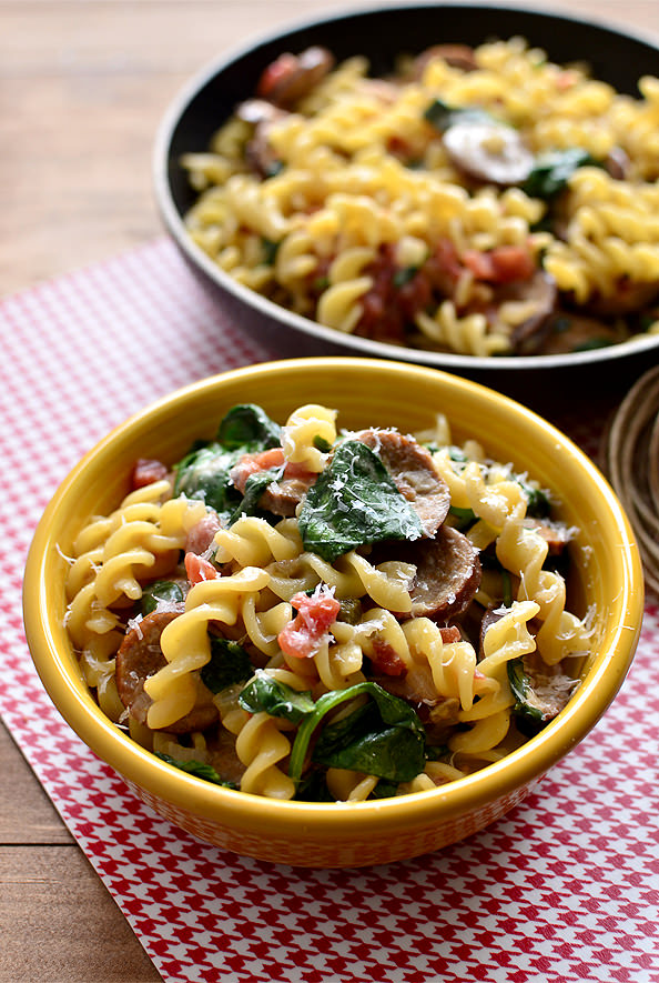 Spicy Sausage Pasta Skillet is a hearty main dish made in just 1 skillet! | iowagirleats.com