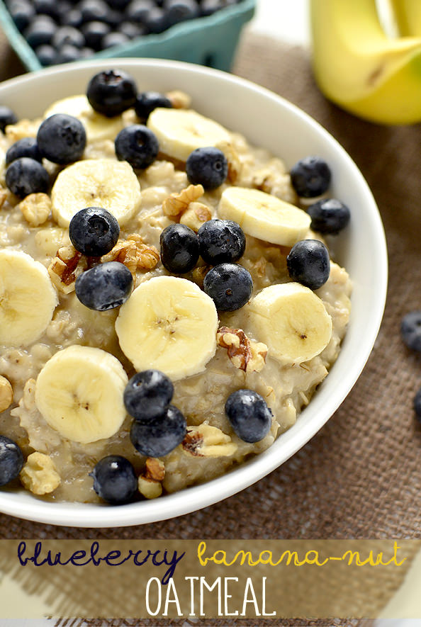 Blueberry Banana Nut Oatmeal | iowagirleats.com