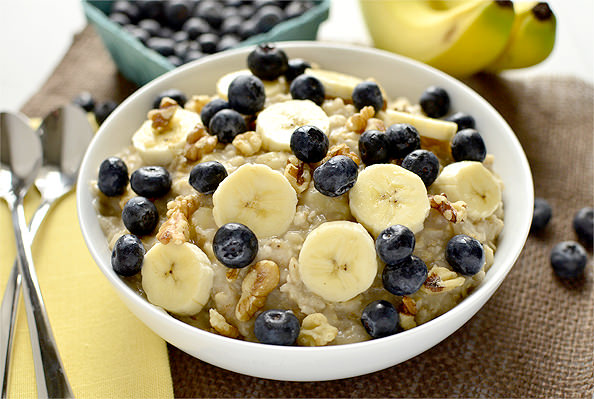 ... Blueberry Banana-Nut Oatmeal. Easy on the tongue AND the taste buds