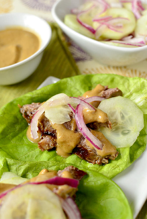 Thai Steak Lettuce Wraps with quick-pickled cucumber and onion   iowagirleats.com
