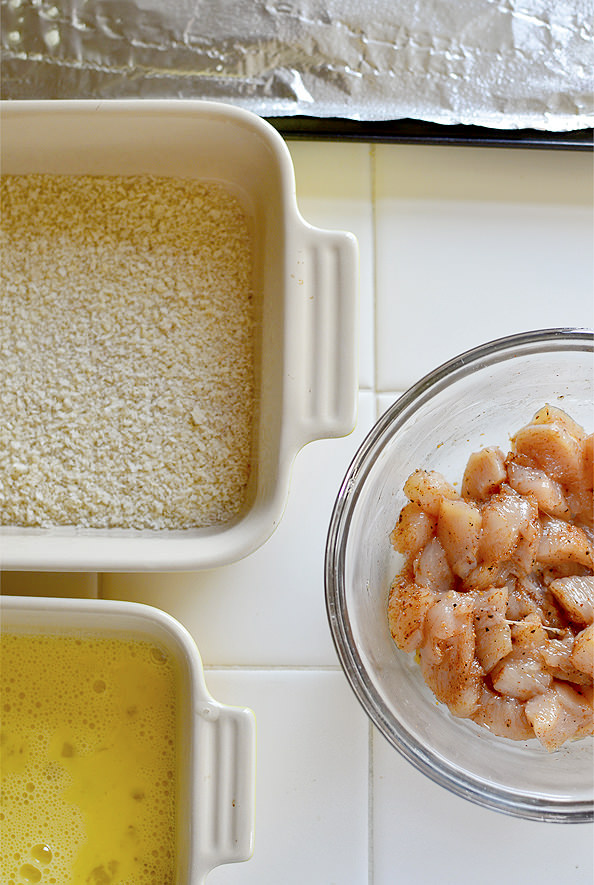 Baked Popcorn Chicken with Maple Dijon Dipping Sauce | iowagirleats.com