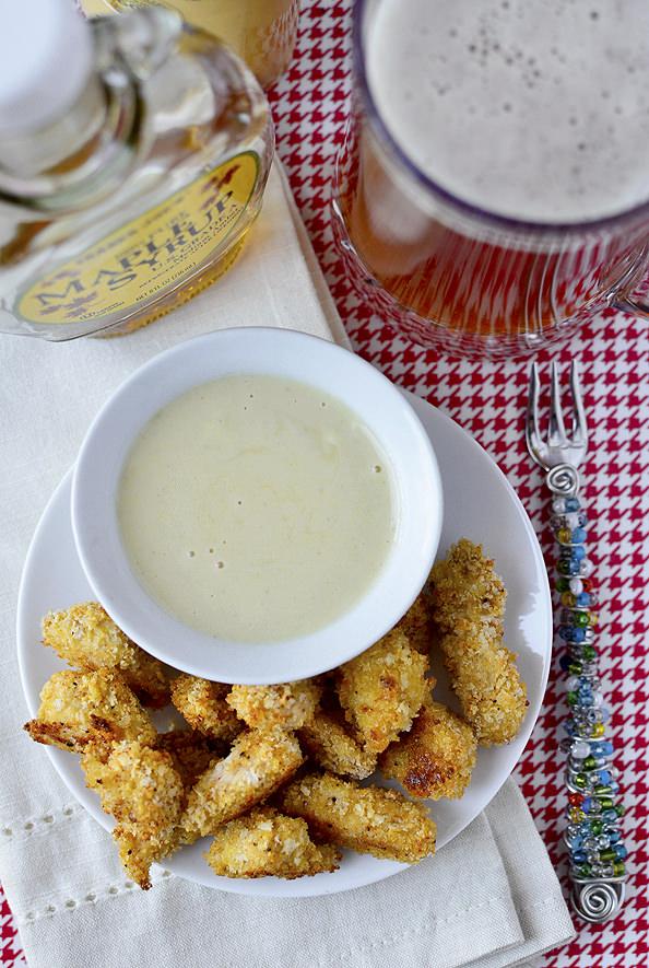 Baked Popcorn Chicken with Maple Dijon Dipping Sauce   iowagirleats.com